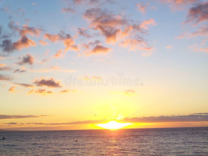 Por do sol Maui foto de stock