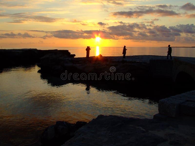 Por do sol mediterrâneo fotos de stock