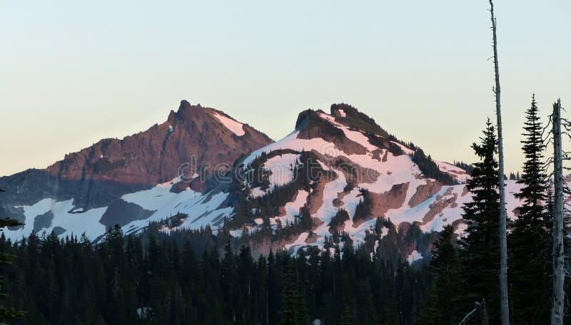 Por do sol, montagem Rainier National Park fotografia de stock royalty free