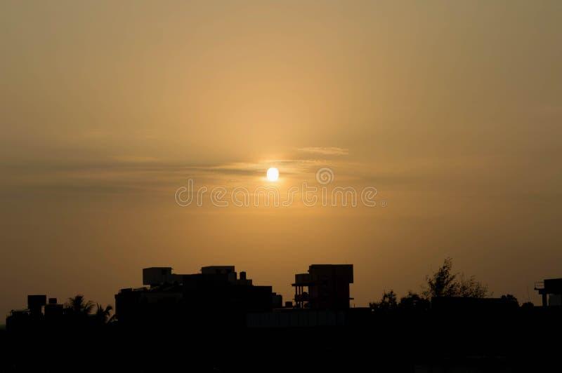 Por do sol morno fotografia de stock