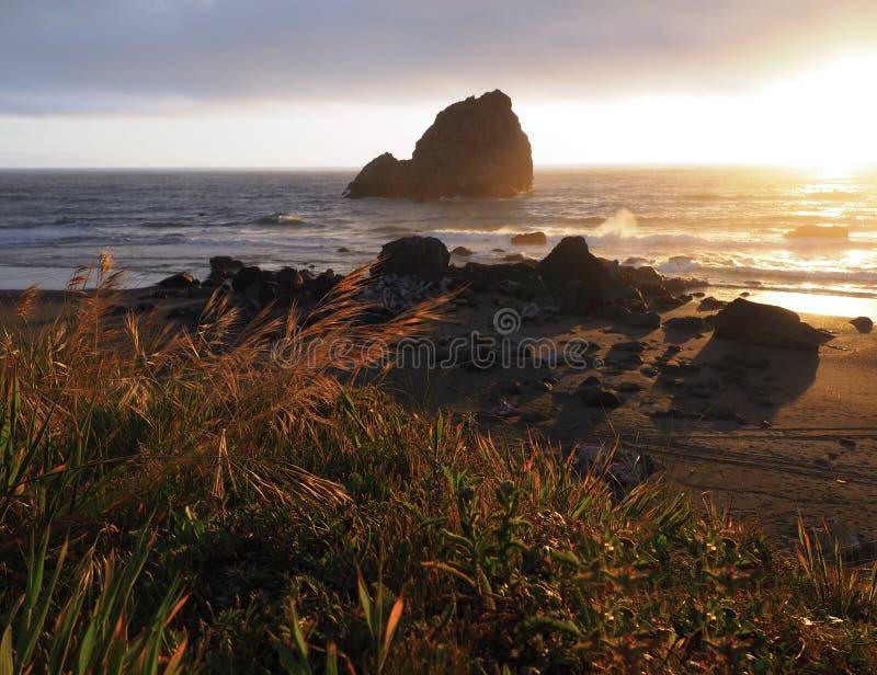Por do sol morno, amarelo em Rocky Californian Beach imagem de stock royalty free