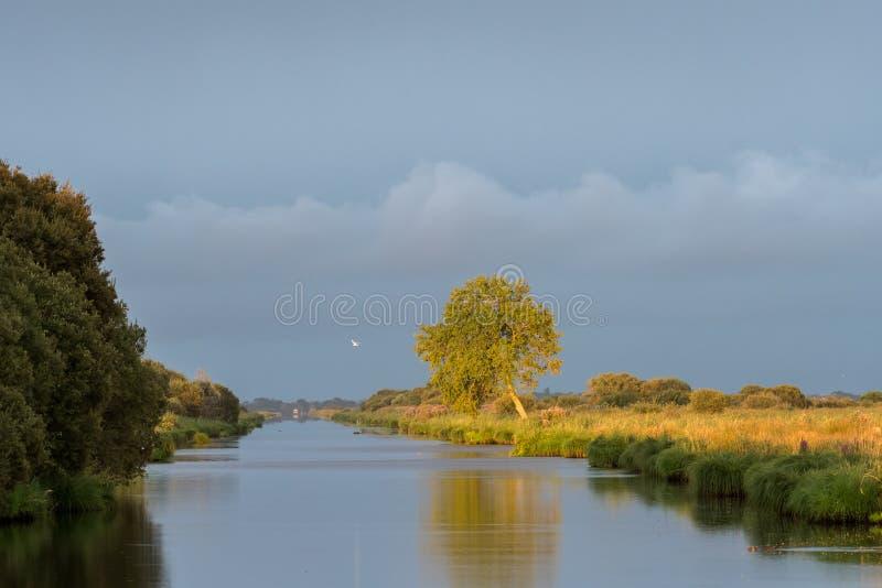 Por do sol na área do pântano de Briere perto de Breca foto de stock royalty free
