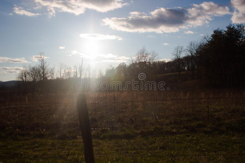 Por do sol na angra Cade do ` s dentro do parque nacional de Great Smoky Mountains imagem de stock