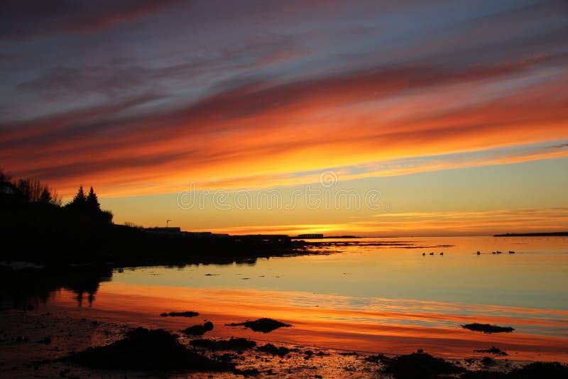 Por do sol na baía fotografia de stock