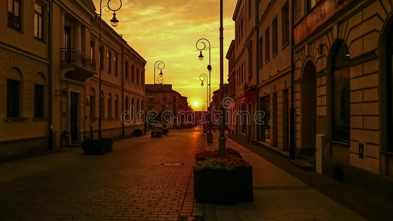 Por do sol na cidade fotografia de stock royalty free