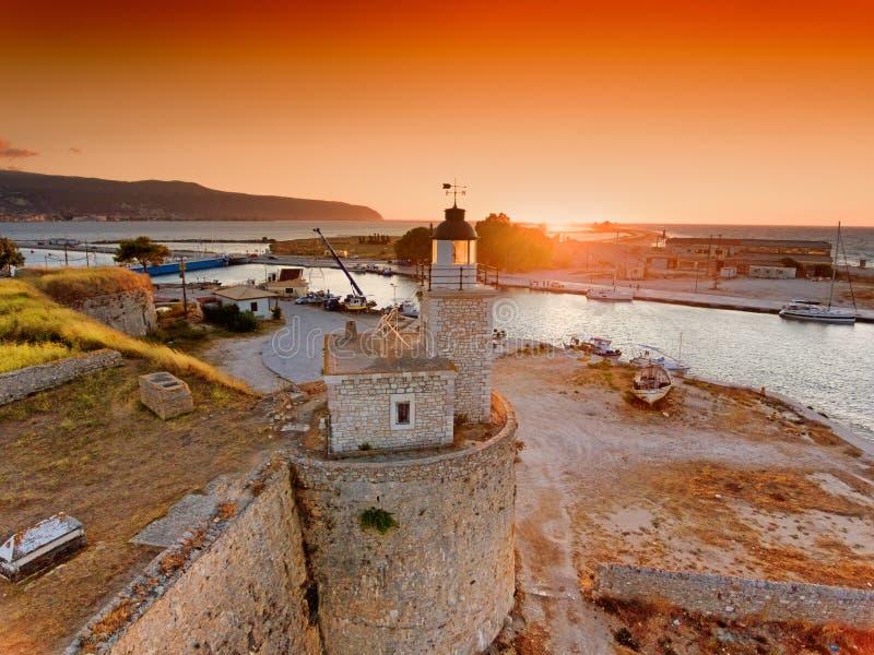 Por do sol na cidade de Lefkada na ilha Grécia de Lefkada (Lefkas) imagens de stock