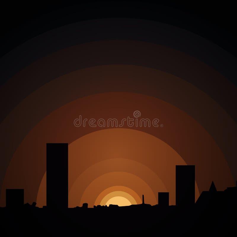 Por do sol na cidade urbana ilustração royalty free