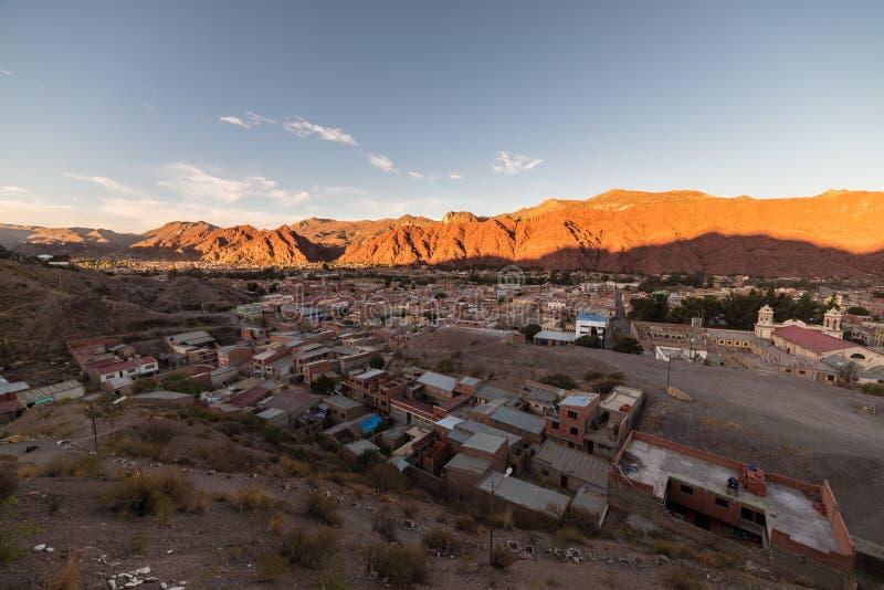 Por do sol na cordilheira vermelha de Tupiza, Bolívia do sul imagem de stock royalty free