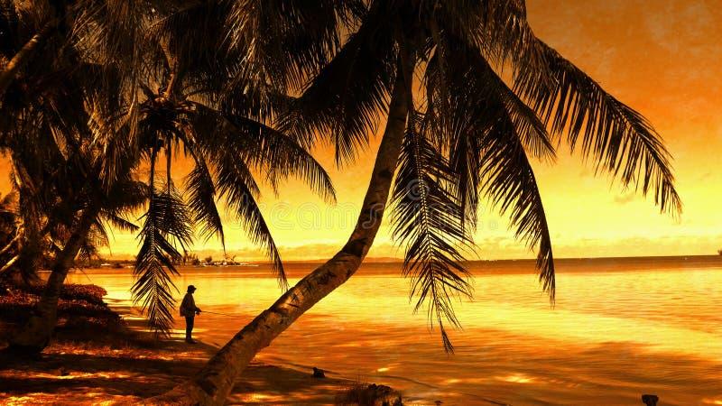 Por do sol na estrada da praia, Saipan foto de stock royalty free