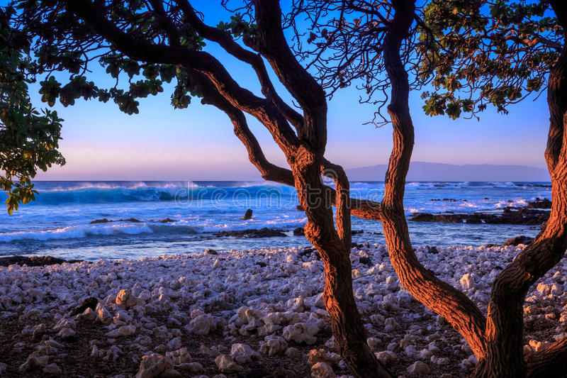 Por do sol na ilha grande de Hawai'i imagens de stock royalty free