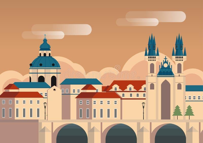 Por do sol na ilustração do vetor do projeto da skyline da cidade de Praga ilustração stock