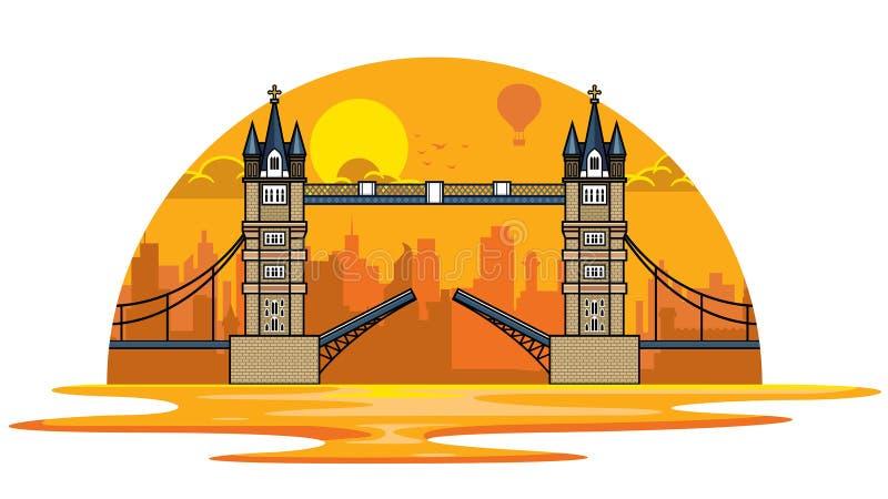 Por do sol na ponte da torre de Londres ilustração do vetor