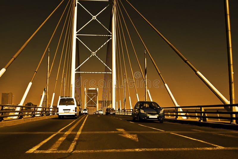 Por do sol na ponte de Nelson.Mandela imagens de stock royalty free