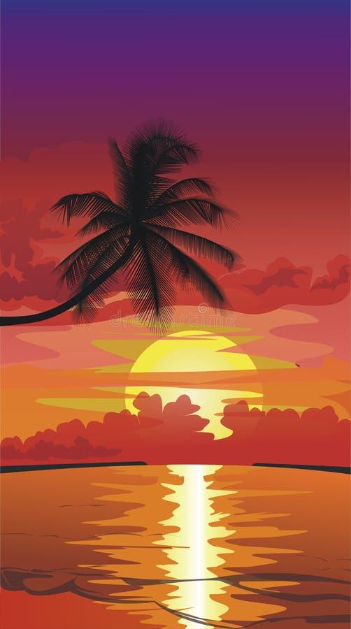 Por do sol na praia ilustração do vetor