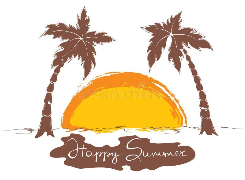 Por do sol na praia ilustração royalty free