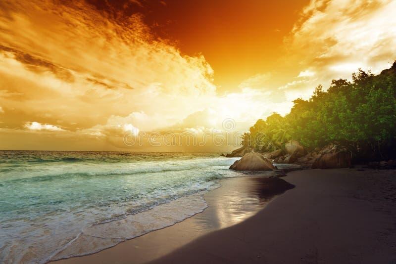Por do sol na praia de Seychelles imagem de stock royalty free