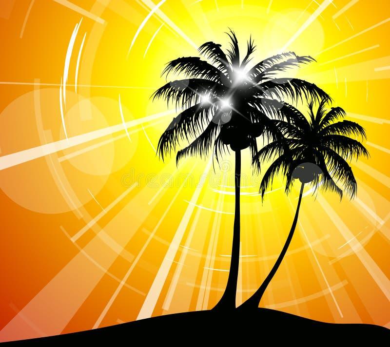Por do sol na praia - imagem do feriado ilustração stock