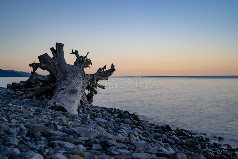 Por do sol na praia do lago Baikal imagem de stock