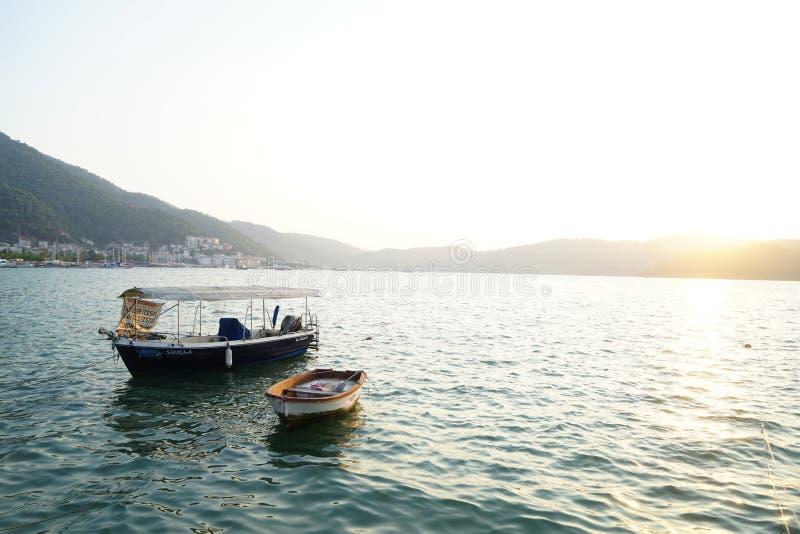 Por do sol na praia, Mugla de Fethiye, Turquia fotos de stock