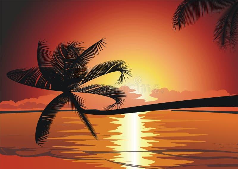 Por do sol na praia tropical ilustração royalty free