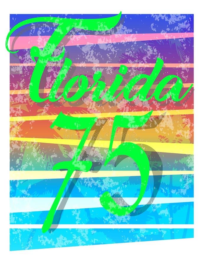Por do sol na praia tropical florida ilustração do vetor
