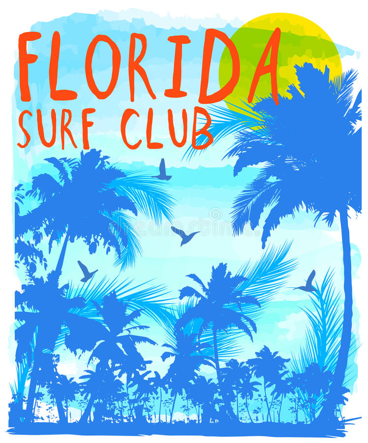 Por do sol na praia tropical florida ilustração royalty free