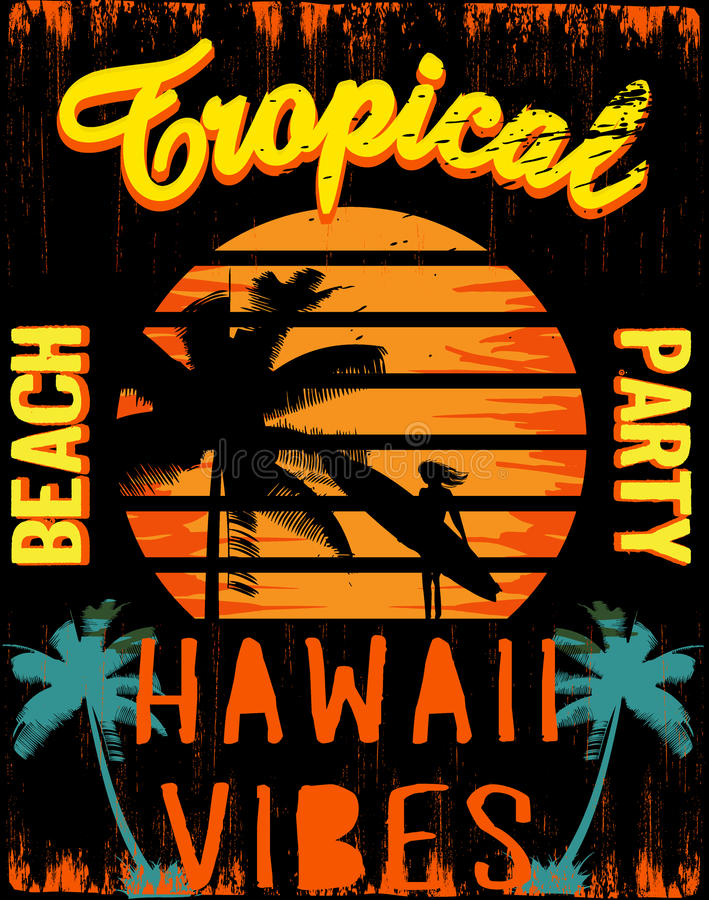 Por do sol na praia tropical Havaí ilustração do vetor