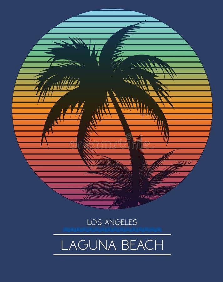Por do sol na praia tropical Los Angeles Califórnia ilustração royalty free