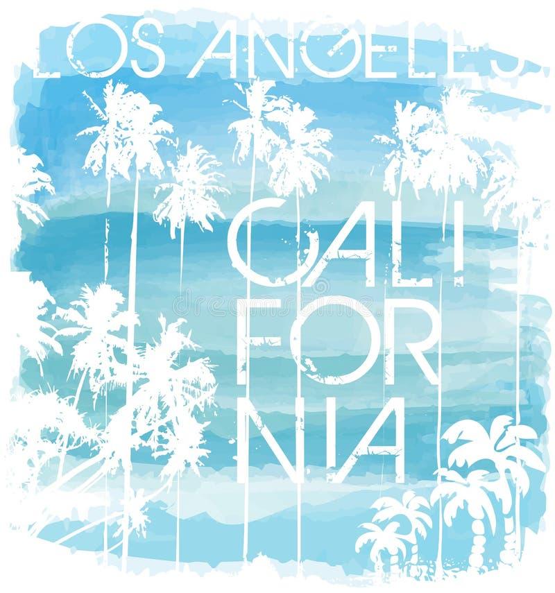 Por do sol na praia tropical Los Angeles Califórnia ilustração do vetor