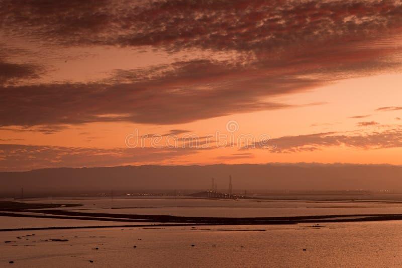 Por do sol na reserva natural de Don Edwards San Francisco Bay National imagem de stock royalty free