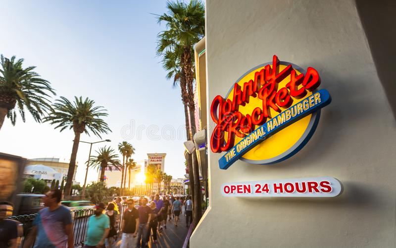 Por do sol na tira, Las Vegas Boulevard, Las Vegas, Nevada, Estados Unidos da América, America do Norte imagem de stock