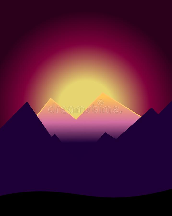 Por do sol nas montanhas ilustração do vetor