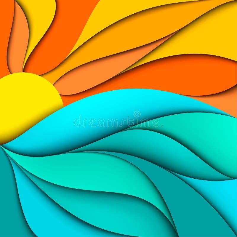 Por do sol. Nascer do sol. O mar acena o fundo ilustração do vetor