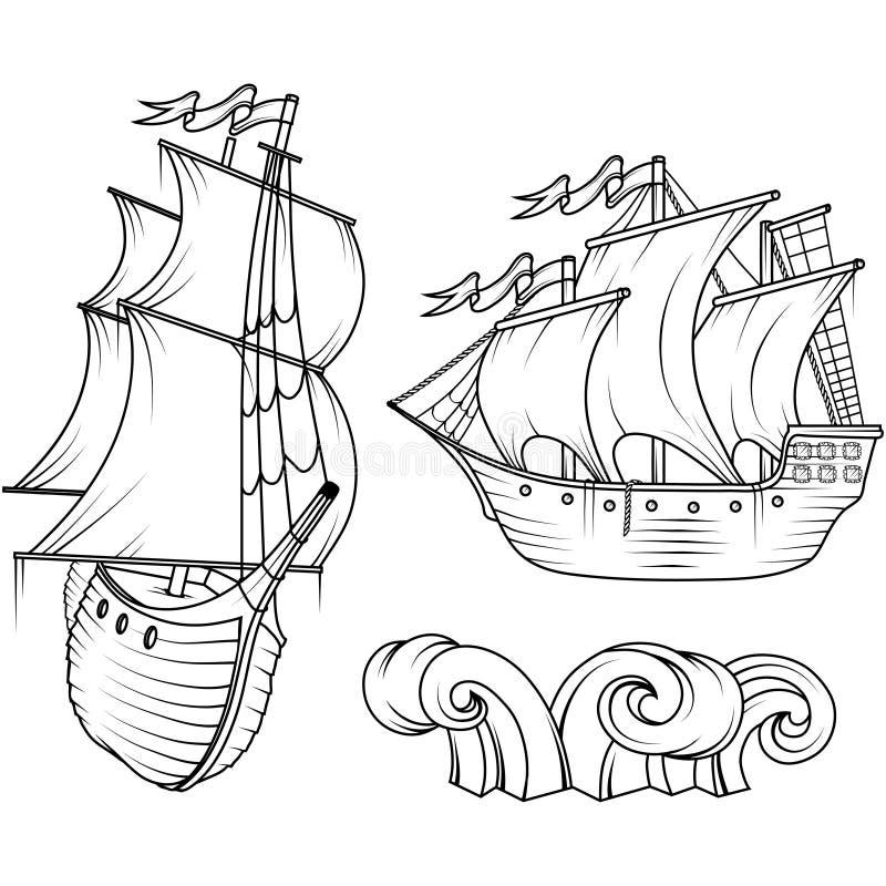 Por do sol Navio de carga retro Por do sol sailing ilustração stock