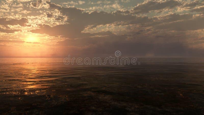 Por do sol nebuloso sobre o oceano ilustração royalty free