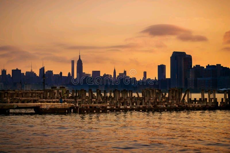 Por do sol New York imagens de stock