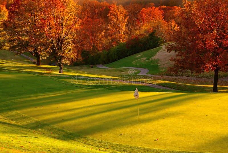 Por do sol no campo de golfe imagens de stock