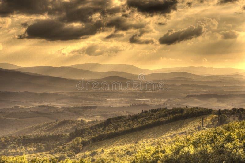 Por do sol no Chianti imagem de stock