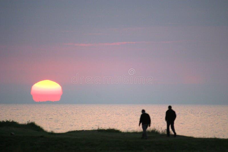Por do sol no Colleville-sur-Mer fotografia de stock