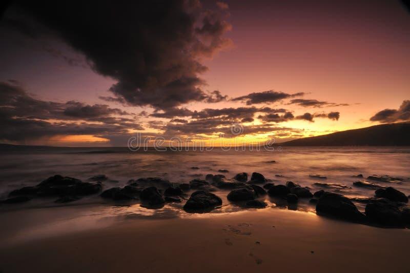 Por do sol no console de Maui, Havaí fotografia de stock