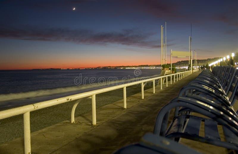 Por do sol no DES Anglais do passeio - agradável - France imagens de stock royalty free