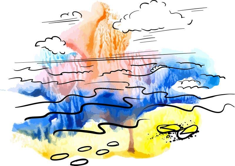 Por do sol no fundo e nos gráficos da aquarela da praia ilustração stock