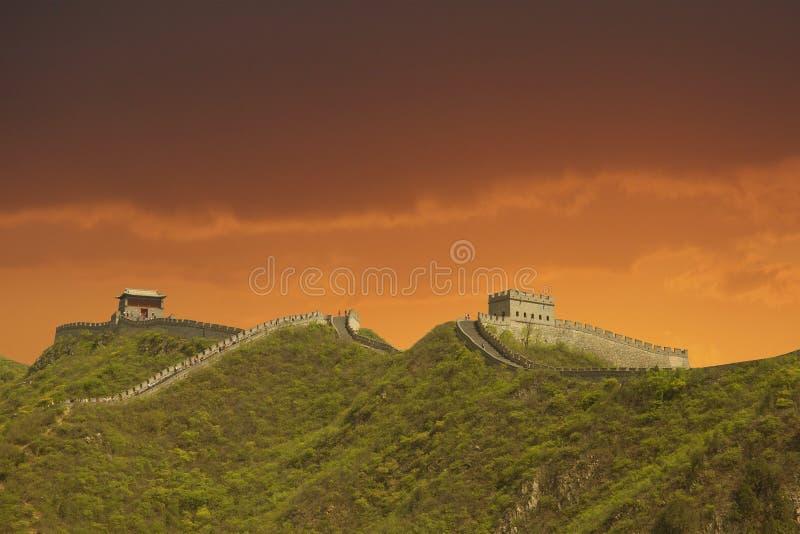 Por do sol no Grande Muralha, China foto de stock royalty free