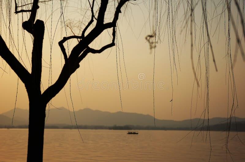 Por do sol no lago imagem de stock royalty free