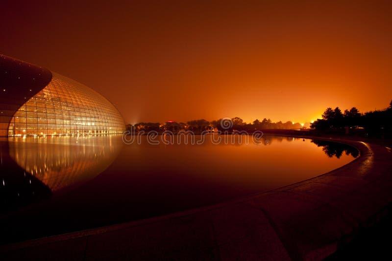 Por do sol no lago, Beijing, China imagem de stock
