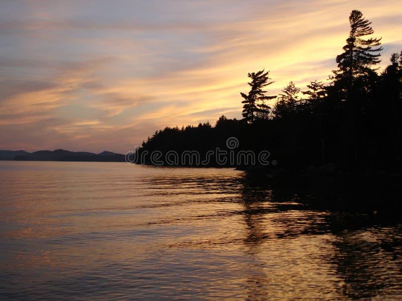 Por do sol no lago Raquette fotos de stock