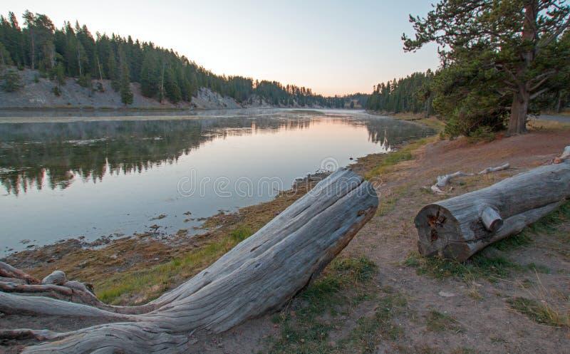 Por do sol no local do piquenique da angra da lontra em Yellowstone River no parque nacional de Yellowstone em Wyoming fotografia de stock royalty free