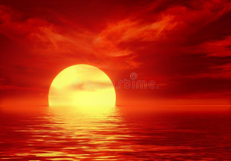 Por do sol no mar ilustração royalty free