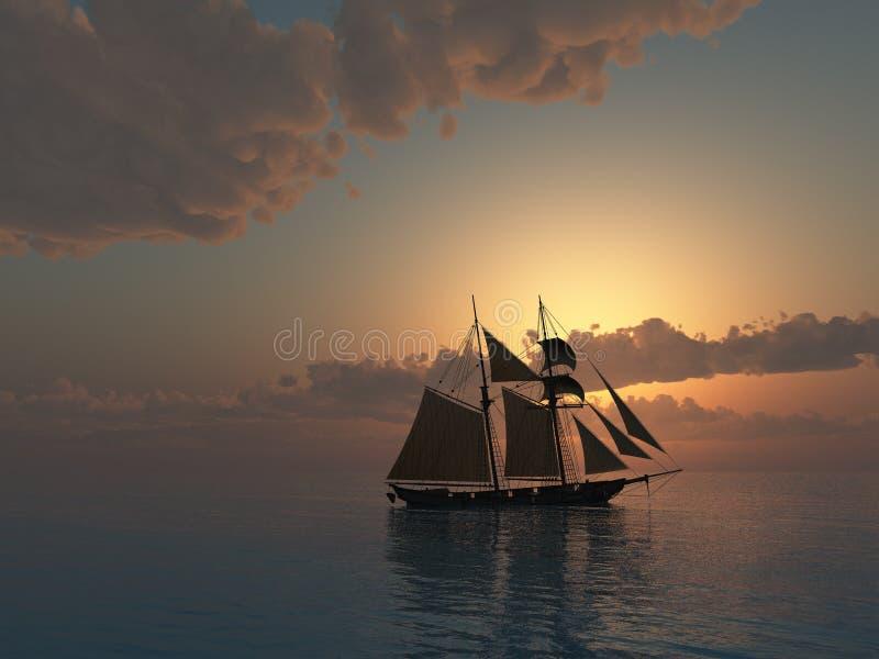 Por do sol no mar com navio do Schooner ilustração stock