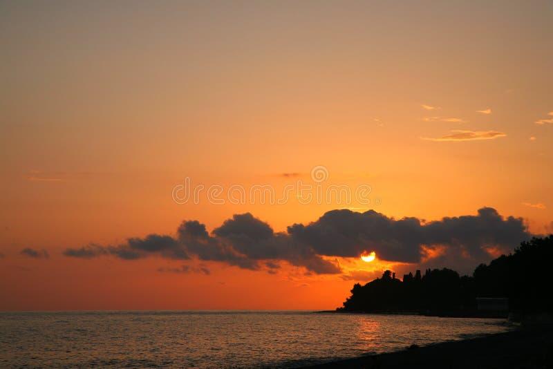 Por do sol no Mar Negro imagem de stock